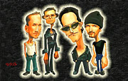 U2 Painting Metal Prints - Rock n Roll Warriors U2 Metal Print by Ebenlo PainterOfSong