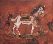 Horses Tapestries - Textiles Prints - Rocking Horse Batik Print by Lisa Strazza