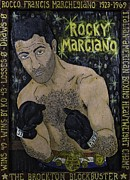 Contemporary American Folk Art Framed Prints - Rocky Marciano Framed Print by Eric Cunningham