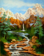 Colorado Mountain Stream Paintings - Rocky  Mountain  High  by Shasta Eone