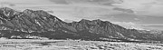 Boulder Framed Prints - Rocky Mountains Flatirons and Longs Peak Panorama Boulder Framed Print by James Bo Insogna