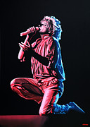 Singer Painting Framed Prints - Rod Stewart Framed Print by Paul  Meijering