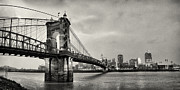 Old Bridge Photos - Roebling Suspension Bridge Panorama by Tanya Harrison