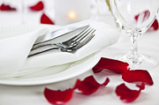 Tablecloth Framed Prints - Romantic dinner setting with rose petals Framed Print by Elena Elisseeva