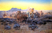 Indian Warrior Art Posters - Roping Fresh Mounts Poster by Charles Russell