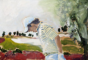 Famous Golfers Framed Prints - Rory McIlroy Acrylic Sketch Framed Print by Mark Robinson