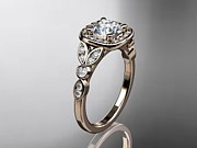 Wedding Ring Jewelry - Rose Gold Diamond Leaf And Vine Wedding Ring Engagement Ring by Anjays Designs