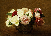 Red Flowers Painting Metal Prints - Roses Metal Print by Ignace Henri Jean Fantin-Latour