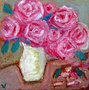 Original Oil Pastels - Roses by Venus