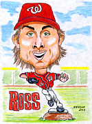 Mlb Drawings Framed Prints - Ross Detwiler Framed Print by Paul Nichols