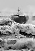 Black And White Digital Art Posters - Rough Sea Training Poster by Dale Stillman