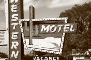Marquee Framed Prints - Route 66 - Western Motel Framed Print by Frank Romeo