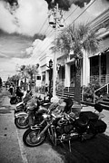 Honda Motorcycles Prints - Row Of Honda And Harley Davidson Motorcycles Parked In Key West During Bike Week Florida Usa Print by Joe Fox