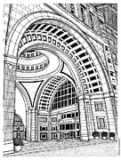 Ma.. Drawings Framed Prints - Rowes Wharf Framed Print by Conor Plunkett