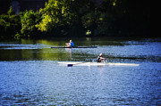 Rower Digital Art Prints - Rowing in Philadelphia Print by Bill Cannon
