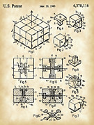 Puzzle Framed Prints - Rubiks Cube Patent Framed Print by Stephen Younts