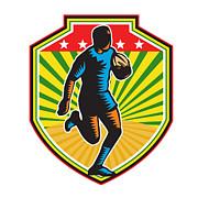 Rugby Player Running Ball Shield Retro Print by Aloysius Patrimonio