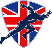 Male Athlete Posters - Runner Sprinter Start British Flag Shield Poster by Aloysius Patrimonio