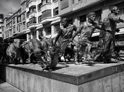 Pamplona Framed Prints - Running of the Bulls Sculpture in Pamplona Framed Print by Mountain Dreams