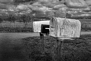 Mail Box Prints - Rural Mailboxes along a Country Road Print by Randall Nyhof