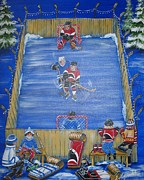 Hockey Painting Posters - Rush the Puck Poster by Jill Alexander