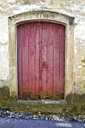 Medieval Entrance Posters - Rustic Red Wood Door of the Medieval Village of Pombal Poster by David Letts