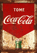 Closeup Coke Sign Prints - Rusty Antique Tome Coca Cola Sign Print by John Stephens