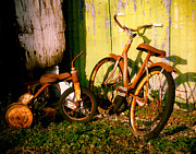 Old Bicycle Prints - Rusty Bikes Print by Sonja Quintero