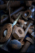 Variation Metal Prints - Rusty bolt and nuts Metal Print by Bernard Jaubert