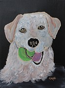 Gold Labrador Paintings - Rusty by Janice Rae Pariza