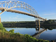 Reflection Tapestries - Textiles Posters - Sagamore Bridge Cape Cod Poster by Lisa  Marie Germaine