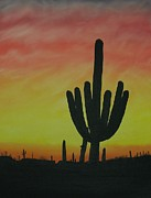 Beautiful Scenery Paintings - Saguaro Sunset by Aaron Thomas