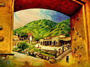 Red Buildings Framed Prints - Saidpur Village Framed Print by Catf