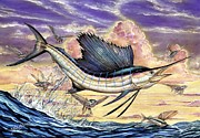 Striped Marlin Painting Posters - Sailfish And Flying Fish In The Sunset Poster by Terry Fox