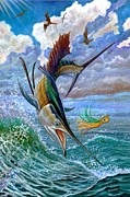 Flying Fish Posters - Sailfish And Lure Poster by Terry Fox