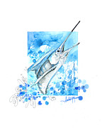 Lure Mixed Media Posters - Sailfish Leap Poster by Amber M  Moran