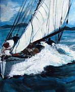 Full Skirt Painting Prints - Sailing Print by Betty Pieper