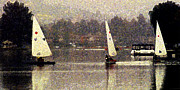Sailboats In Water Posters - Sailing in the Rain Poster by Ron Regalado