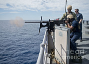 Sailor Prints - Sailor Fires A .50 Caliber Machine Gun Print by Stocktrek Images