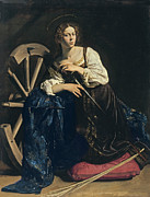 Religious Art Painting Prints - Saint Catherine of Alexandria Print by Caravaggio