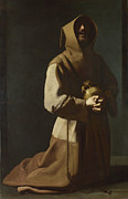Famous Artists - Saint Francis in Meditation by Francisco de Zurbaran