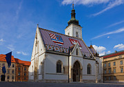 Tiling Prints - Saint Marks Church in Zagreb Croatia Print by Kiril Stanchev