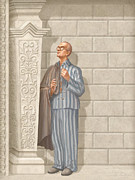 Concentration Painting Framed Prints - Saint Maximilian Kolbe Framed Print by John Alan  Warford