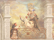Guardian Angel Painting Posters - Saints Dominic Benedict and Francis of Assisi 2 Poster by John Alan  Warford