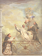 Saints Dominic Benedict And Francis Of Assisi II Print by John Alan  Warford