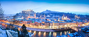 Medieval Art - Salzburg panorama in winter by JR Photography