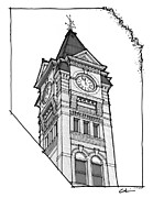 Brick Buildings Drawings Prints - Samford Hall Clock Tower Print by Calvin Durham