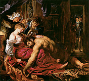 Religious Art Painting Posters - Samson and Delilah Poster by Peter Paul Rubens