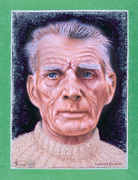 Samuel Pastels Framed Prints - Samuel  Beckett portrait Framed Print by Jerry Kool
