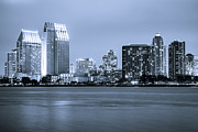 Dark Night Rises Prints - San Diego at Night Print by Paul Velgos